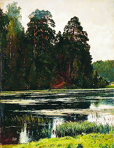 Pond landscape painting ivan shiskin